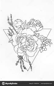фото роза в треугольнике рисунок роза в треугольнике эскиз розы