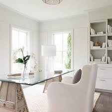 white airy home office. glass top sawhorse desk with drawers white airy home office i
