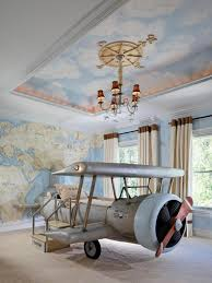 Bedroom:Eclectic Kid Room Travel Theme With Airplane Shape Bed Also Large  Blue Wall Lmap
