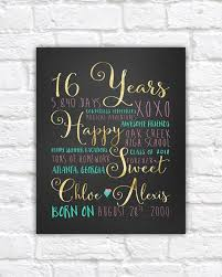sweet six 16th birthday gift gift for best friend daughter 16 years old gifts age daughter bedroom poster wf445
