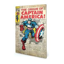 marvel the origin of captain wooden wall art wood comic