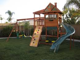 Outdoor  Courtyard With Wooden Swings And Slides Yellow Then Big Backyard Ashberry Wood Swing Set