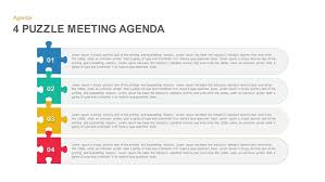 How To Write An Agenda Of A Meeting 4 Puzzle Meeting Agenda Powerpoint Template And Keynote