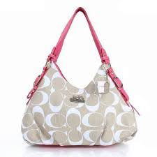 Coach Fashion Signature Medium Pink Ivory Shoulder Bags ERF