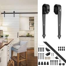yeshom 6ft arrorw shape black country style steel sliding barn door hardware track rail kit for wooden wall amazon
