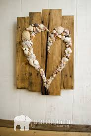 pallet art natural shell skewed heart wall hanging rustic shabby chic seaglass sharksteeth nautical seashore on pallet wall art shabby chic with pallet art natural shell skewed heart wall hanging rustic shabby