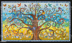 Small Mosaic Tiles Pattern Forming A Tree Of Life Background Stock Photo -  Download Image Now - iStock