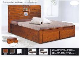 Solid Wood Strong King Size Wooden Bed Frame With Headboard Storage
