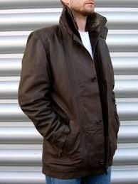 enner mens leather car coat with detachable faux fur trim 204 00