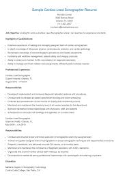 Dance Resumeresume Prime Sample Cardiac Lead Sonographer Resume Resame Pinterest 7