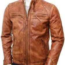 men s tan biker leather jacket sibiu