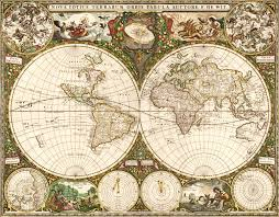 wall mural map of the world 1660