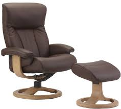 fjords scandic ergonomic leather recliner chair  ottoman