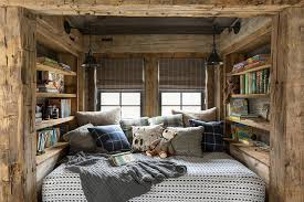 rustic reading nook with wooden shelves