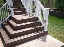 Exterior:Brown Outdoor Deck Stair Design Using White Railing Handrail Ideas  Simple Outdoor Steps Ideas