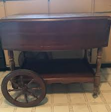 mid century wooden tea cart table antique wagon wheels drawer drop leaf intact