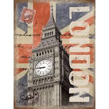 home wall decor vintage style signs london big ben postcard stamps metal travel sign d zoom on big ben metal wall art with london postcard stamps metal sign vintage style travel decor