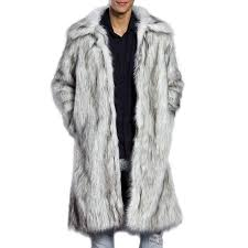 mens winter warm faux fur coat turn down collar mid long casual jacket white s cod