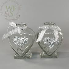 lovely hearts small glass vases set of two
