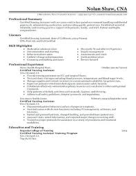 Nurse Aide Resume Examples Duties New Certified Nursing Assistant