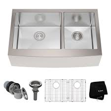 kraus khf203 33 33 farmhouse double bowl stainless kitchen sink