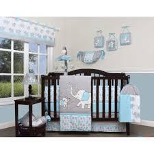 blue gray elephant 13 pcs crib bedding set baby boy nursery quilt per diaper