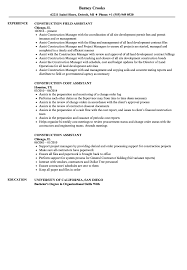Construction Assistant Sample Resume Construction Assistant Resume Samples Velvet Jobs 12