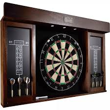 Wooden Games Room Electronic Dart Board Set Wooden Game Cabinet LED Light Game Room 51
