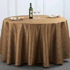 brown round tablecloth gold yellow coffee top grade luxury polyester hotel banquet table cloth restaurant round