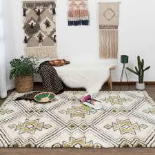 large cream lime rug soft diamond rhombus plush lounges carpet mat 190x280cm for