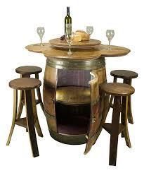 storage oak wine barrels. Wine Barrel Cabinet Table Set With 4 Stools Lazy Susan Shelf Storage Oak Barrels