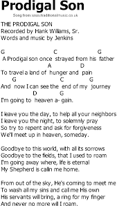 song lyrics with chords - Prodigal Son