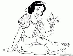 ぬりえ 白雪姫と鳥