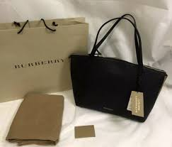 nwt burberry welburn medium leather and house check tote shoulder bag black