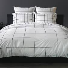 grid black duvet cover queen