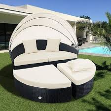 Modern outdoor daybed Inspirations Cloud Mountain Outdoor Furniture Piece Wicker Rattan Round Outdoor Daybed Sectional Sofa Retractable Comfortable Modern Bobitaovodainfo Outdoor Daybed Amazoncom
