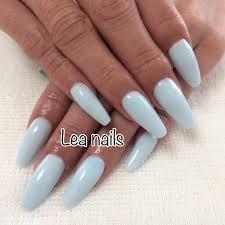 ハンドシンプルワンカラー水色スカルプチュア Leanailsのネイル