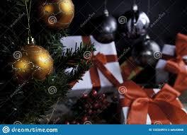 Mistletoe Ball Lights Christmas Balls Close Up Mistletoe And Presents Stock Photo