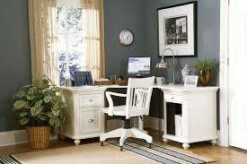 enchanting home office ideas with grey wall color and stylish white corner office desk