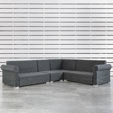 homesullivan camari charcoal wicker rolled arm outdoor sectional sofa