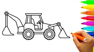 Learn Colors For Kids With Car And Construction Vehicles Coloring