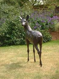 bronze garden statues. bronze garden or yard / outside and outdoor sculpture by artist gill parker titled: \u0027roe-buck (bronze life size male deer garden/yard sculpture/statue)\u0027 statues d