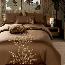 new arrival brown full bedding set 4pc egyptian cotton queen embroidery duvet cover luxury queen king