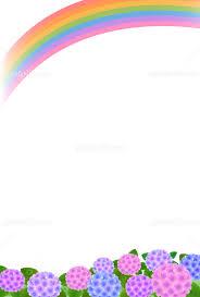 あじさいと虹 縦 イラスト素材 5526759 フォトライブラリー