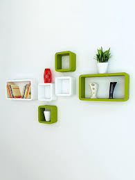 wall shelf set wall shelf set of six cube rectangle designer wall rack shelves green wall shelf set