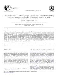 The Driving pdf Illegal Lowering 05 Concentration Limits Evidence Bac bac To Reducing Limit Of Alcohol Blood Effectiveness For