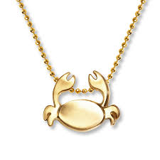alex woo signs crab necklace 14k yellow gold