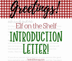 Elf on the Shelf Introduction Letter for Kids from Santa