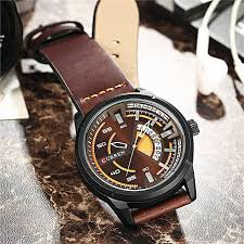 mens watches waterproof leather band sport business gift blue