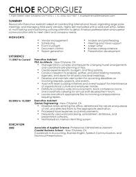 Back Office Resume Sample Executive Assistant Resume Sample School